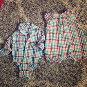 Baby Gap Matching Plaid Outfits for boy/girl twins